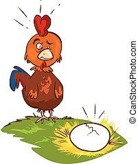confondu, illustration, vecteur, fond, poulet, blanc