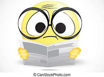 confondu, newspap, lecture, emoticon