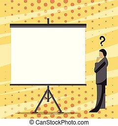 confondu, vide, debout, à côté de, projecteur, pensée, point interrogation, regarder, planche, au-dessus, complet, blanc, tête, sien, grand écran, illustration, homme, tripod., stand., homme affaires
