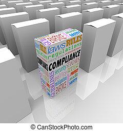 conformidad, caja, estantes, afuera, de, competir, paquetes,...