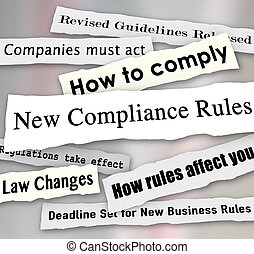 conformidad, empresa / negocio, rasgado, regulaciones, periódico, nuevo, titulares, com