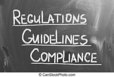 conformidad, pautas, regulaciones, concepto