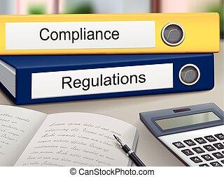 conformidad, y, regulaciones, carpetas