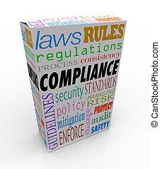 conformidad, y, relacionado, palabras, como, seguridad, regulaciones, leyes, y, reglas, a, ilustrar, eso, un, producto, o, mercancía, pasa, todos, legal, requisitos, y, es, seguro, a, compra, comprar, o, consumir