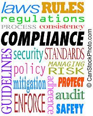 conformidade, palavra, policies, diretrizes, padrões, fundo, leis