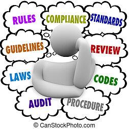conformidade, regras, diretrizes, confundido, regulamentos, pensador