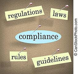 conformidade, regras, diretrizes, regulamentos, tábua, boletim, leis