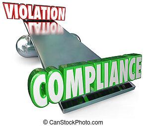 conformidade, vs, violação, balanço, equilíbrio, seguindo,...