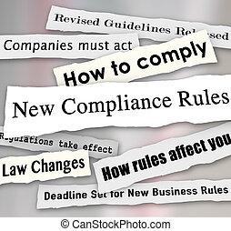 conformité, business, déchiré, règlements, journal, nouveau, gros titres, com