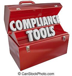 conformité, outils, boîte outils, techniques, connaissance,...