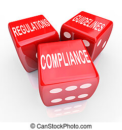 conformité, règlements, directives, trois, dés, mots