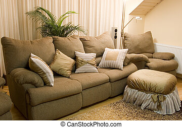 confortável, interior lar