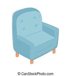 confort, fauteuil, icône, bleu, isolé, conception, meubles