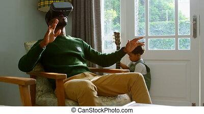 confortable, 4k, virtuel, casque à écouteurs, noir, père,...