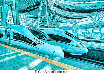 confortable, beijing., vitesse, 23, chemins fer, commodité, 2015:, porcelaine, train, la plupart, élevé, beijing, republic., china-, mai, station