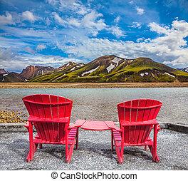 confortable, chaises, rouges, pont, deux
