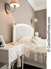 confortable, chambre à coucher