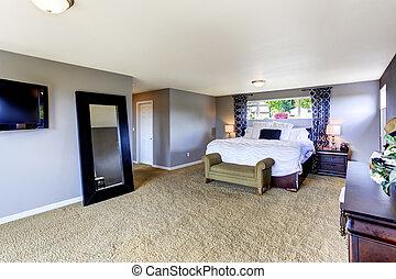 confortable, couleur, lavande, chambre à coucher, intérieur, doux