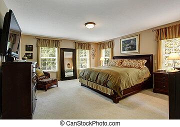 confortable, couleurs, intérieur, olive, chambre à coucher