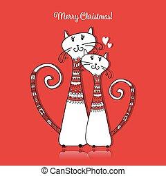 confortable, couple, chats, conception, sweaters., noël carte