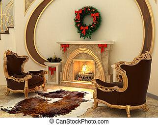 confortable, décorations, intérieur, fauteuils, noël-arbre, cheminée