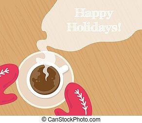 confortable, gants, chaud, grande tasse, cacao, rouges, ...