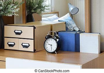 confortable, horloge, bois, reveil, noir, chambre à coucher, intérieur, table