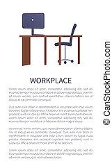 confortable, informatique, lieu travail, table, conception, chaise