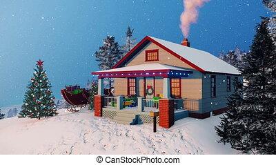 confortable, maison, rustique, 4k, décoré, noël