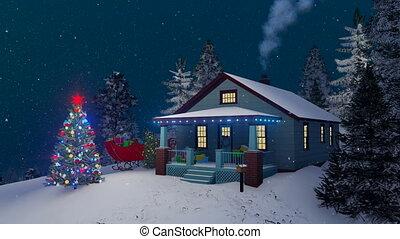 confortable, maison, rustique, nuit, décoré, noël