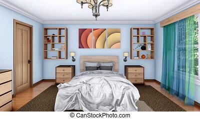 confortable, moderne, animation, chambre à coucher, intérieur, 3d