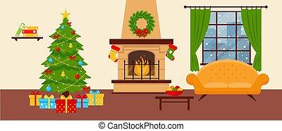 confortable, noël, livingroom, arbre., sofa, cheminée