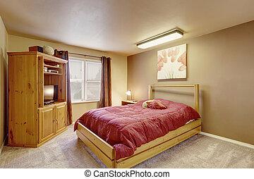 confortable, plancher, bois, mobilier chambre, moquette