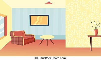 confortable, plat, fauteuil, intérieur, décorations, café, room., style., style, minimalistic, dessin animé, table, vase, salle de séjour, maison, concept., vecteur, illustration, fenêtre., moderne