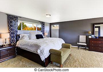 confortable, pourpre, couleur, chambre à coucher, intérieur, doux