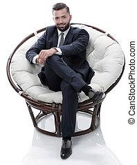 confortable, séance, chaise, homme affaires