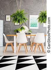 confortable, salle manger, intérieur