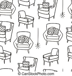 confortable, seamless, dessiné, fauteuil, main, pattern., griffonnage, style