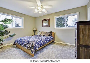 confortable, simple, bed., bois, vert, chambre à coucher