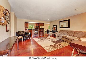 confortable, spacieux, salle de séjour, à, cherrywood, floor.