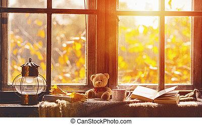 confortable, thé, livre, fenêtre, feuilles, automne, grande tasse, fall.