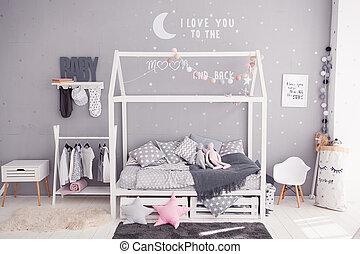 confortevole, camera letto bambini, in, scandinavo, stile, con, bricolage, accessori