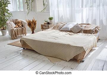 confortevole, poltrona, legno, doppio, luminoso, floor., letto, pareti, verde, elegante, soffitta, piante, mattone bianco, tenda, stanza