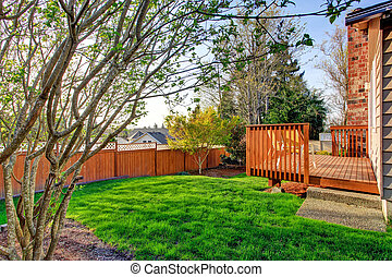 confortevole, ponte, legno, walkout, piccolo, cortile posteriore