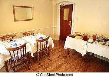 confortevole, servizio, ristorante, cibo, buffet, piccolo, tavola