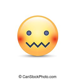 Confounded emoticon face. Zipper-Mouth Face. Embarrassed...
