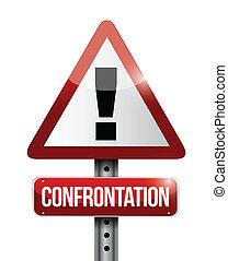 confrontação, aviso, sinal estrada, ilustração