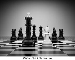 confrontatie, koning, en, pion