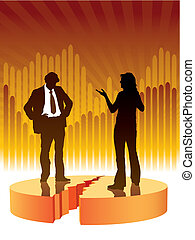 Confrontation - People are talking, graph in the background,...