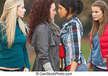 confrontational, meninas, grupo, adolescente
